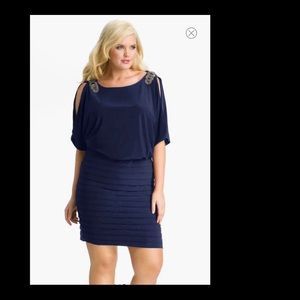 R & M Richards Blue Dolman Sleeves Blouson Dress